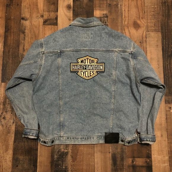 b936d4fab84a Harley Davidson Denim Jean Jacket Bar Shield Patch
